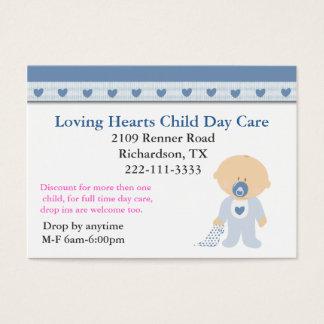 Tarjeta de visita azul del cuidado de niños de los