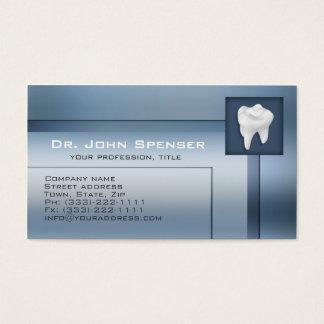 Tarjeta de visita azul del metal del Orthodontist