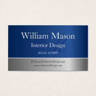 Tarjeta de visita azul del monograma del efecto de