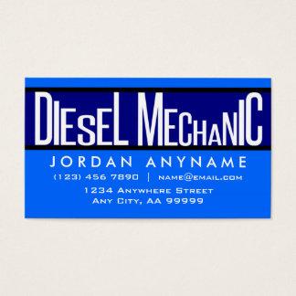 Tarjeta de visita azul del texto enrrollado diesel