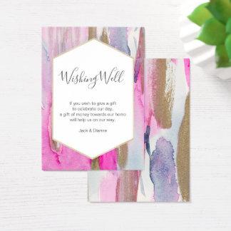 Tarjeta De Visita Azul elegante y detalles rosados que desean la