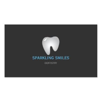 Tarjeta de visita azul gris simple del dentista
