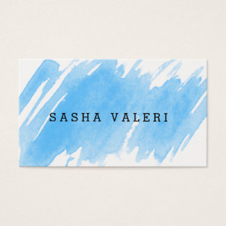 Tarjeta de visita azul minimalista de la acuarela
