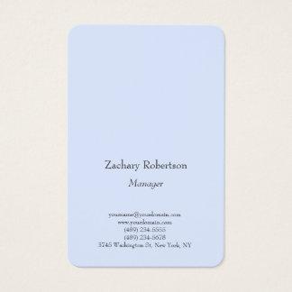 Tarjeta De Visita Azul minimalista simple llano de moda legible