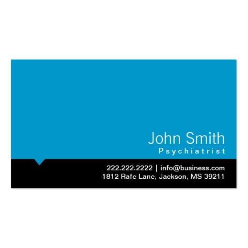Tarjeta de visita azul moderna del psiquiatra