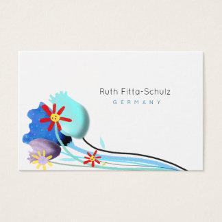 Tarjeta de visita azul y blanca floral