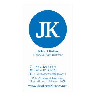 Tarjeta de visita azul y blanca simple de las