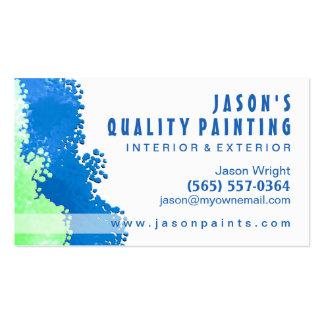 Tarjeta de visita azul y verde del pintor