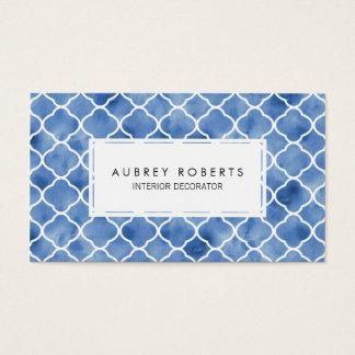 Tarjeta De Visita Azules añiles y blanco geométricos del modelo de