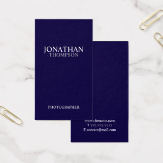 Tarjeta De Visita Azules marinos y blanco minimalistas profesionales