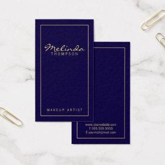 Tarjeta De Visita Azules marinos y oro modernos simples