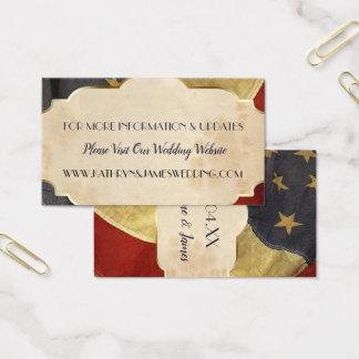 Tarjeta De Visita Bandera patriótica del vintage del boda militar