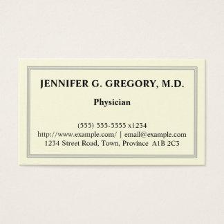 Tarjeta de visita básica del médico