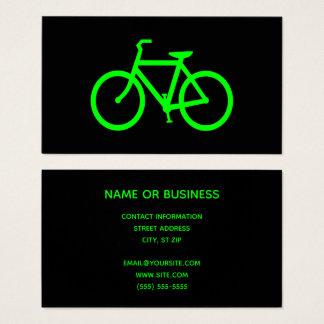 Tarjeta De Visita Bicicleta del negro y de la verde lima