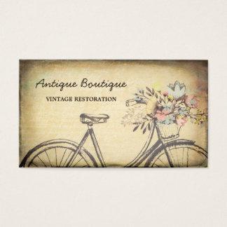 Tarjeta De Visita Bicicleta floral de la restauración del vintage