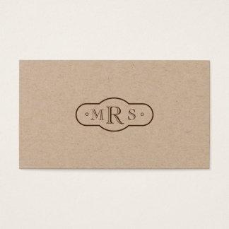 Tarjeta De Visita Bistre retro con monograma de la fuente de