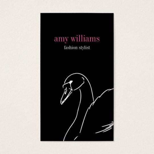 Tarjeta De Visita Black swan beauty style fashion elegant visit card