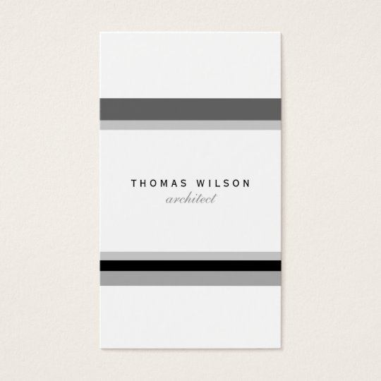 Tarjeta De Visita Black white grey stripes minimal modern chic card