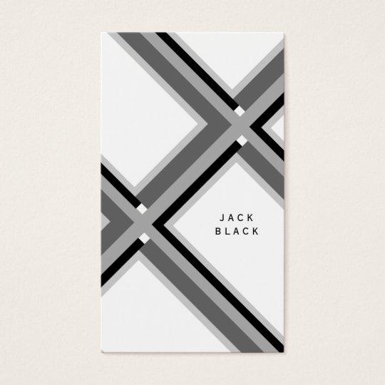 Tarjeta De Visita Black white professional elegant geometric lines  
