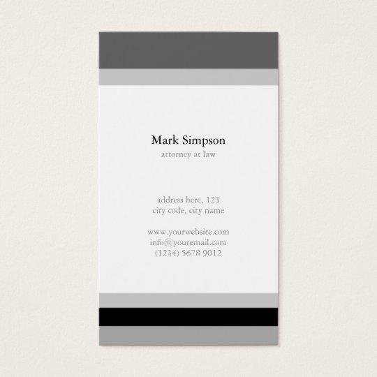 Tarjeta De Visita Black white stripes elegant minimal masculine card