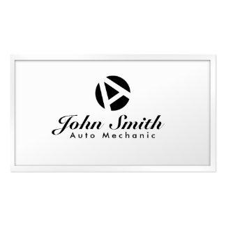 Tarjeta de visita blanca del mecánico de automóvil