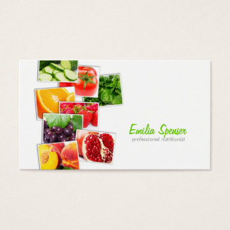 Tarjeta de visita blanca simple del nutricionista