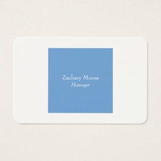 Tarjeta De Visita Blanco azul minimalista simple llano elegante de