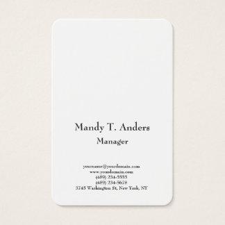 Tarjeta De Visita Blanco elegante minimalista simple llano moderno