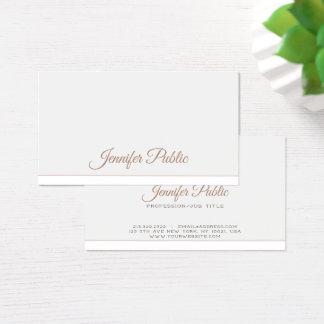 Tarjeta De Visita Blanco elegante moderno profesional llano simple