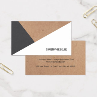 Tarjeta De Visita Blanco gris impreso moderno del papel de Kraft