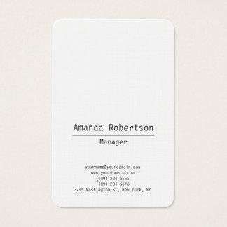 Tarjeta De Visita Blanco minimalista simple llano de moda legible