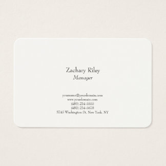 Tarjeta De Visita Blanco minimalista simple llano elegante de moda