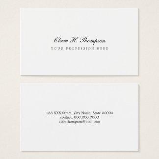 Tarjeta De Visita blanco profesional elegante y minimalista de la