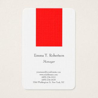 Tarjeta De Visita Blanco rojo minimalista simple llano de moda