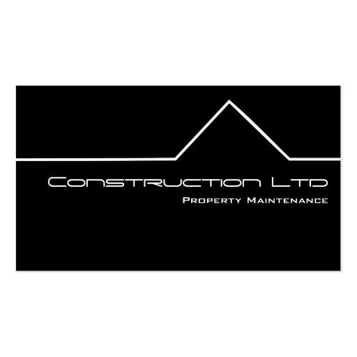 Tarjeta de visita blanco y negro de construcción