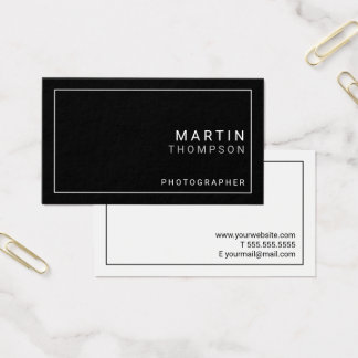 Tarjeta De Visita Blanco y negro minimalista profesional