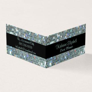 Tarjeta De Visita Bling de plata glamoroso reluciente brillante