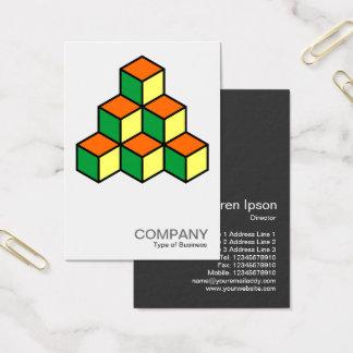 Tarjeta De Visita Bloques geométricos - naranja verde y amarillo
