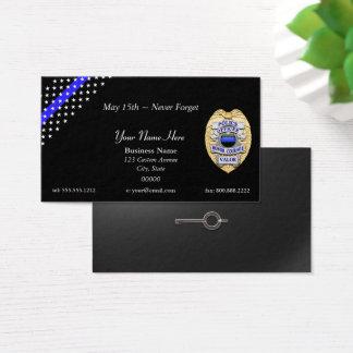 Tarjeta De Visita Blue Line fino limpia la insignia y esposa llave