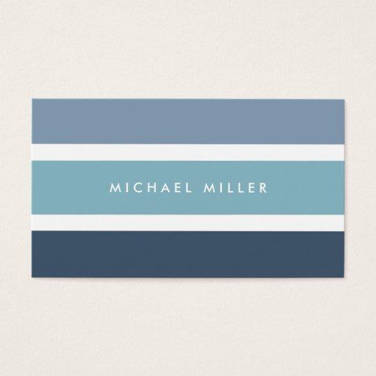 Tarjeta De Visita Blue nautical stripes modern smart masculine