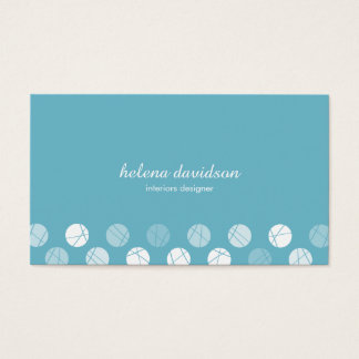 Tarjeta De Visita Blue white elegant feminine simple dots visit card