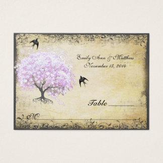 Tarjeta De Visita Boda del pájaro del vintage del árbol de la