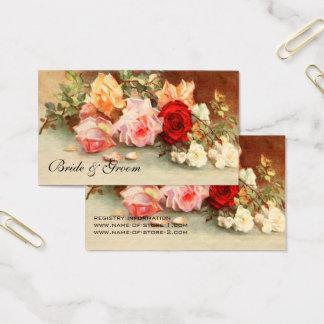 Tarjeta De Visita Boda del vintage, arte floral de las flores color