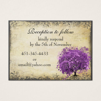 Tarjeta De Visita Boda radiante del árbol de la hoja de Purple Heart