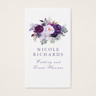 Tarjeta De Visita Bohemio elegante floral púrpura de la acuarela