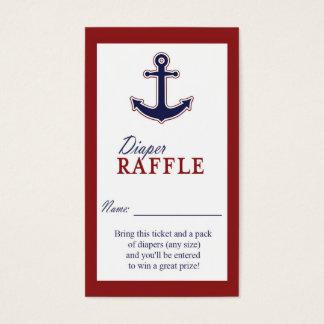 Tarjeta De Visita Boleto rojo y azul del ancla náutica del pañal de