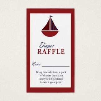 Tarjeta De Visita Boleto rojo y azul del velero náutico del pañal de
