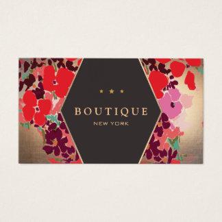 Tarjeta De Visita Boutique floral del oro colorido del vintage