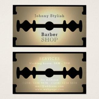 Tarjeta De Visita Brillo del oro de la peluquería de caballeros de