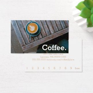 Tarjeta De Visita Café simple de la lealtad de la tabla del cuadrado